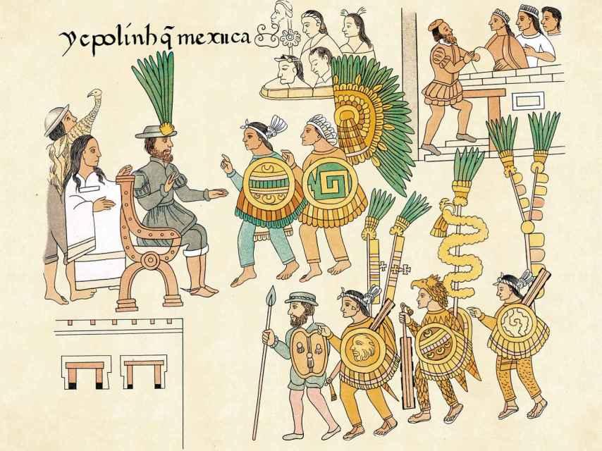 La lámina del Lienzo de Tlaxcalla en la que se representa la rendición de Cuauhtémoc ante Cortés