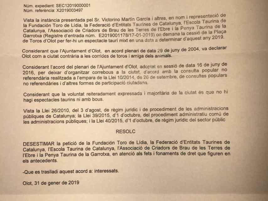 Resolución Ayuntamiento de Olot