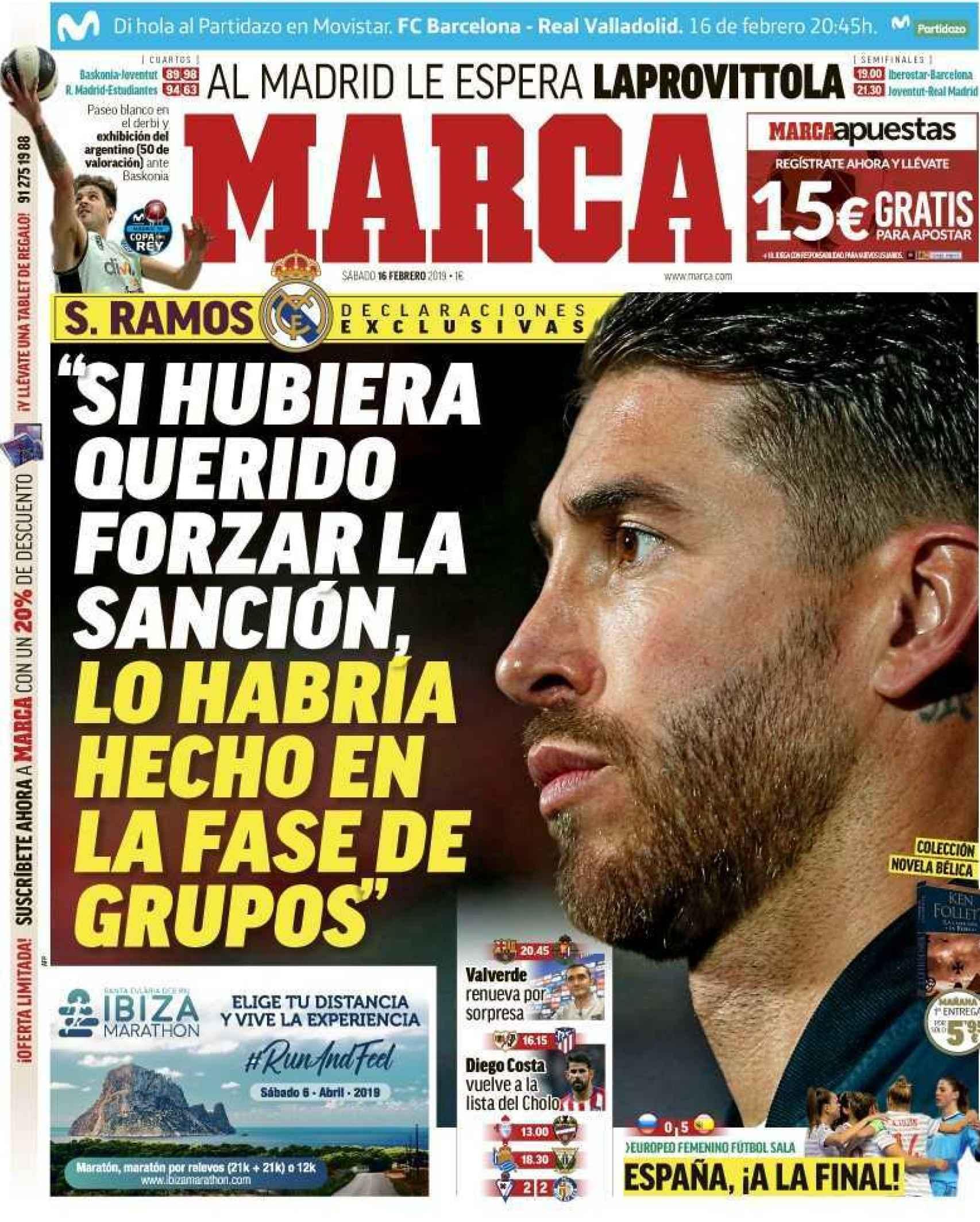La portada del diario MARCA (16/02/2019)