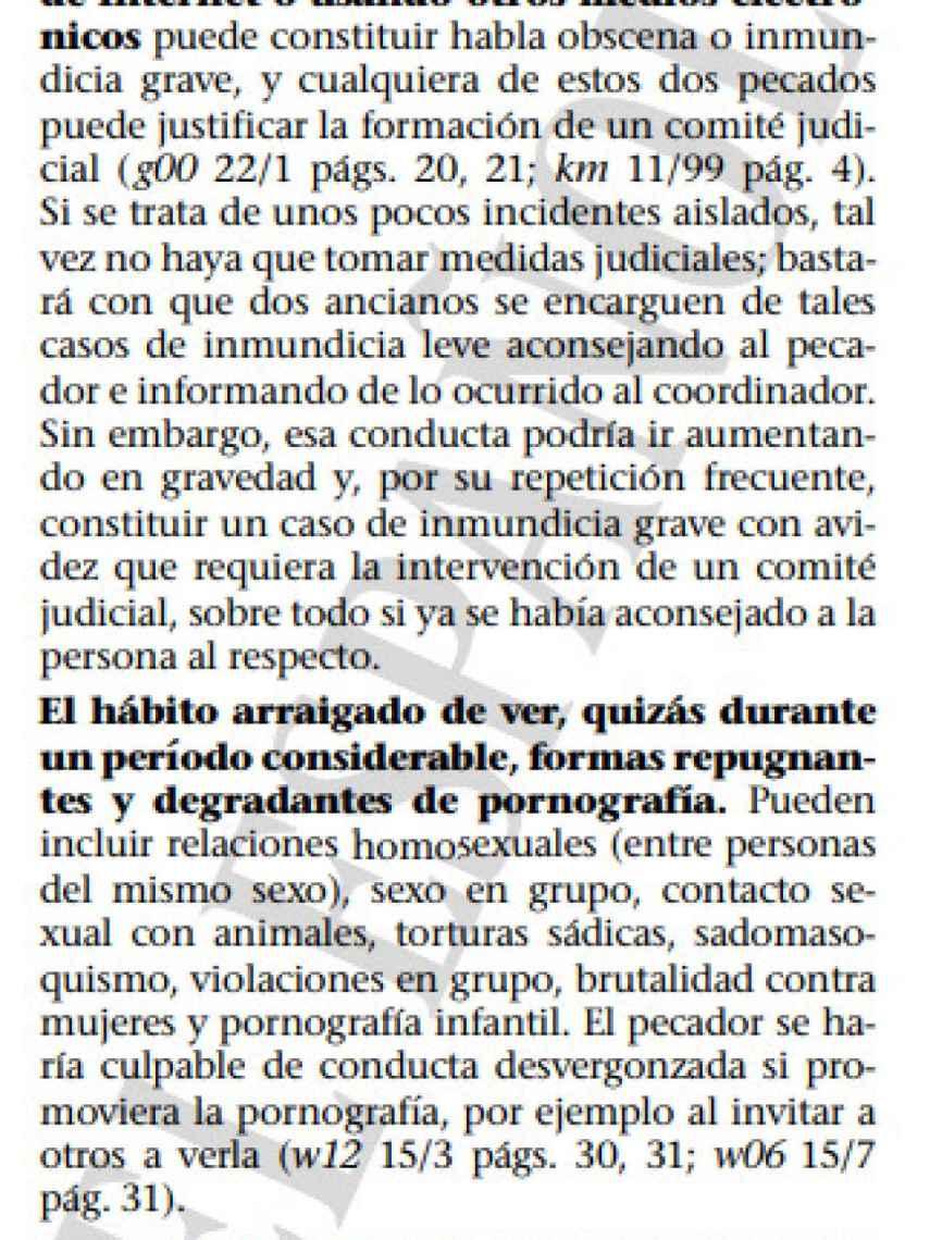 Fragmento del libro interno de los Testigos de Jehová Pastoreen el rebaño. En este, concretamente, califican las relaciones entre personas del mismo sexo como algo repugnante.