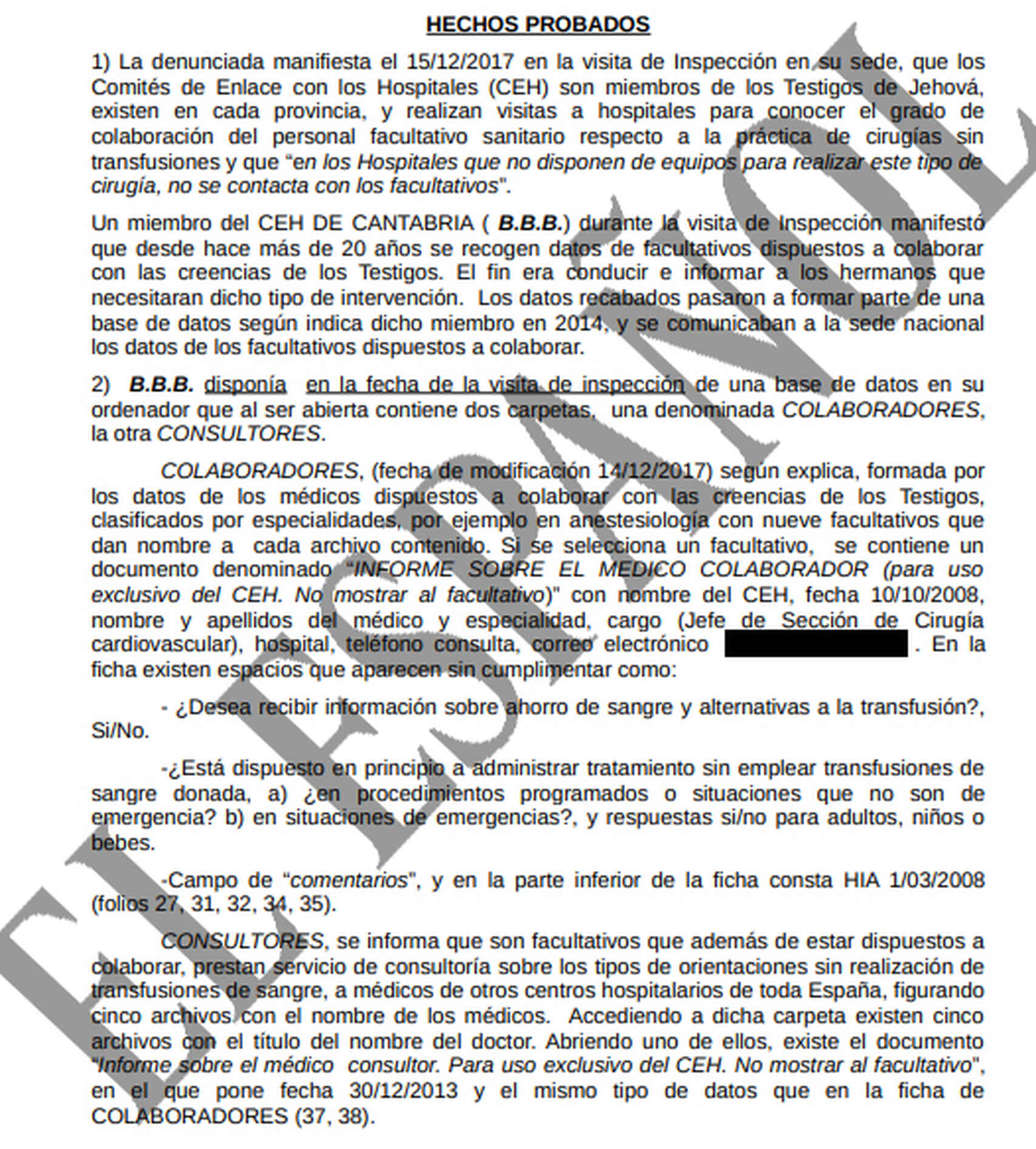 Resolución judicial en la que se detalla cómo los Testigos de Jehová robaron datos personales en un hospital de Cantabria.