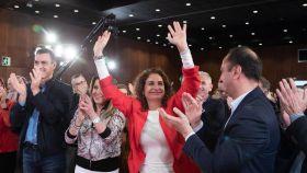 María Jesús Montero, ministra de Hacienda, aplaudida en un mitin en Sevilla el mes pasado.