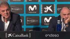 Juan Carlos Sánchez y Pablo Laso en rueda de prensa