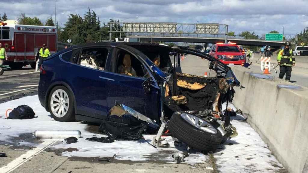 Model X tras el accidente de tráfico de California