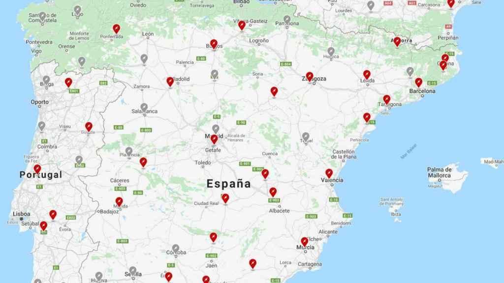 Mapa con las estaciones de súper carga de Tesla