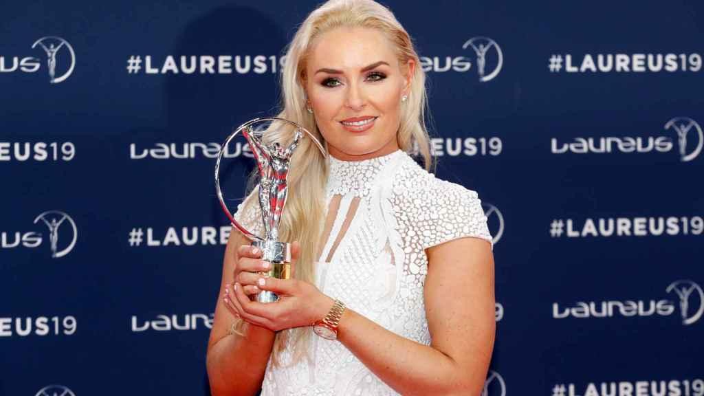 Lindsey Vonn, tras ser premiada durante la gala de los Premios Laureus del deporte