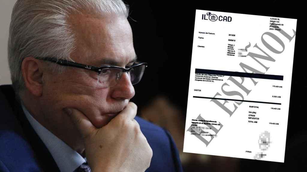 A la izquierda, el exjuez Baltasar Garzón. A la derecha, la factura girada por 176.400 dólares.