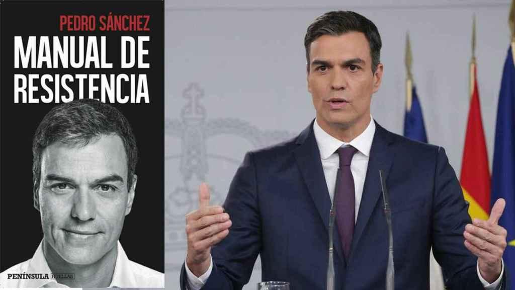 Pedro Sánchez y la portada de su libro.