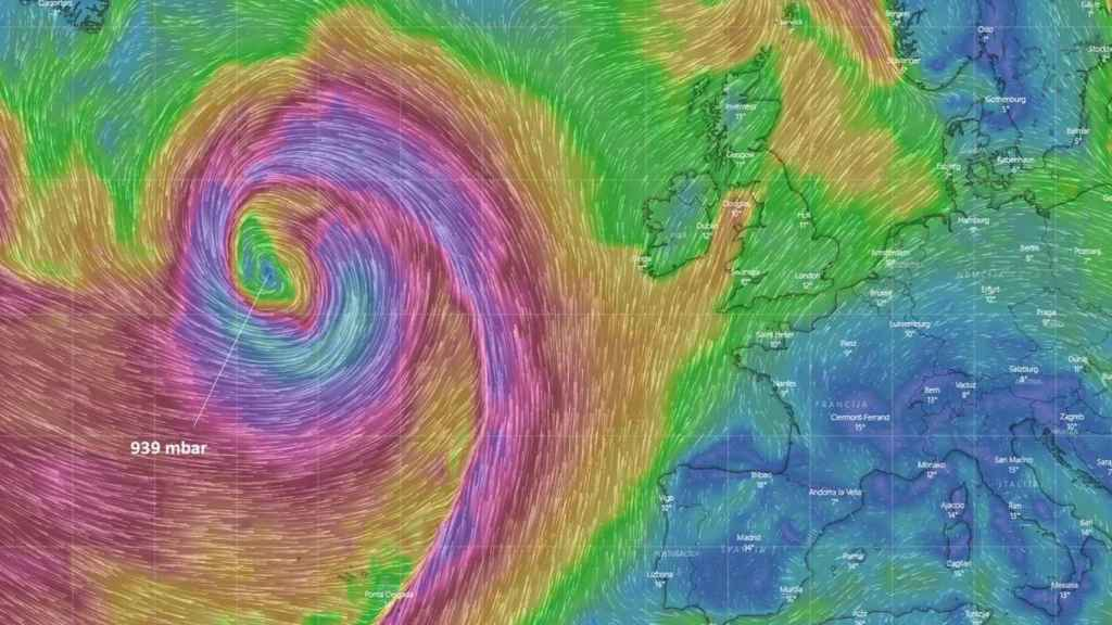 La formación de la borrasca Julia en un modelo de severe-weather.eu