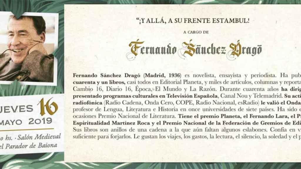 Cartel de la conferencia de Dragó en Baiona.