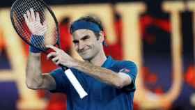 Federer, durante un partido en el pasado Abierto de Australia.