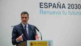 El presidente del Gobierno, Pedro Sánchez, durante la presentación del paquete de energía y clima.