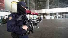 Un agente del Cuerpo Nacional de Policía en labores de vigilancia en el aeropuerto de Málaga.