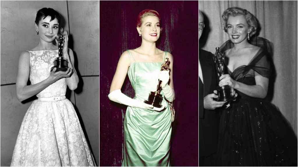 De izquierda a derecha: Audrey Hepburn, Grace Kelly y Marilyn Monroe en los Oscar.