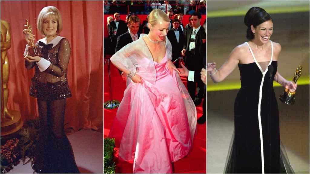De izquierda a derecha: Barbra Streisand, Gwyneth Paltrow y Julia Roberts la noche en que ganaron su primer premio Oscar.