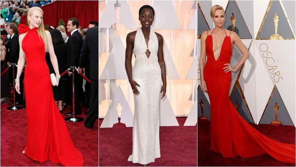 De izquierda a derecha: Nicole Kidman, Lupita Nyong'o y Charlize Theron en la alfombra roja de los premios más importantes del cine.