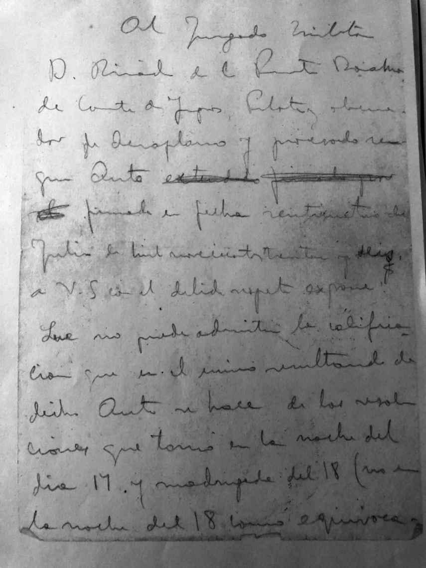 Primera página del escrito de Ricardo de la Puente ante el tribunal militar que le condenó a muerte.