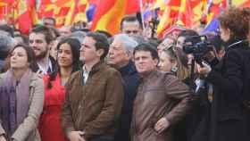 Albert Rivera y otros dirigentes de Ciudadanos en la manifestación de Colón del 10-F.