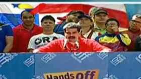 Maduro se dirige a sus seguidores en Caracas