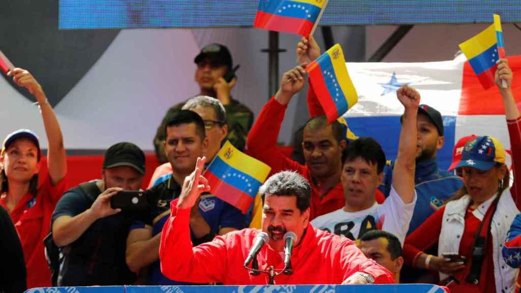 Maduro durante su discurso en una marcha en Caracas este sábado