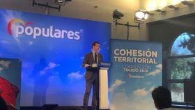 Pablo Casado en la convención territorial del PP, en Toledo.