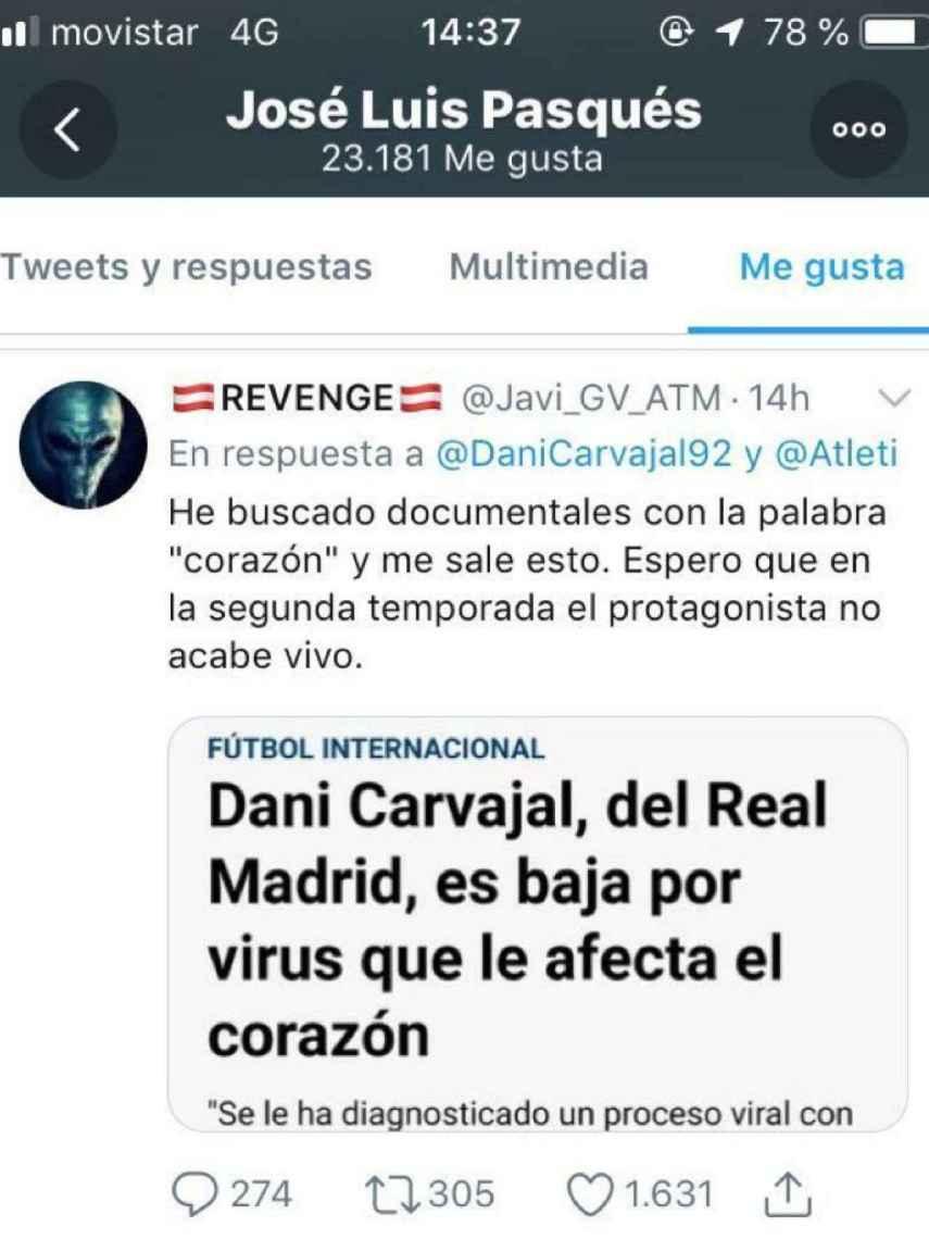 El jefe de prensa de Simeone dio 'me gusta' a un tuit que deseaba la muerte a Carvajal