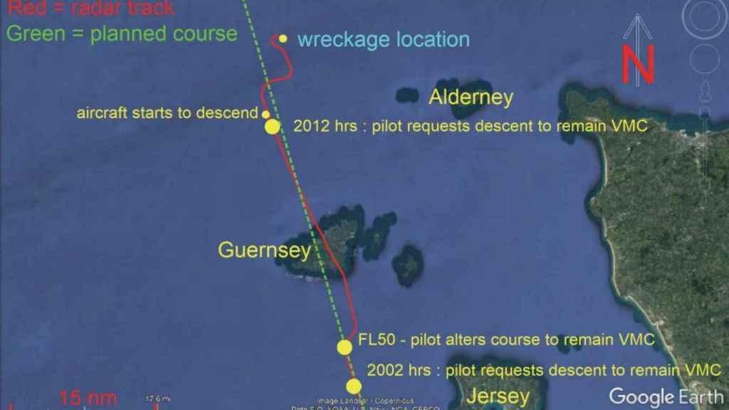 Infografía de la AAIB de la señal del avión de Emiliano Sala