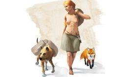 Representanción artística de una mujer de la Edad de Bronce acompañada por un perro y un zorro.