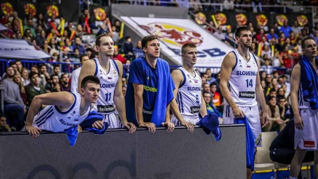 La selección de Eslovenia, en la derrota ante España en la fase de clasificación para el Mundial de China 2019. Foto: fiba.basketball