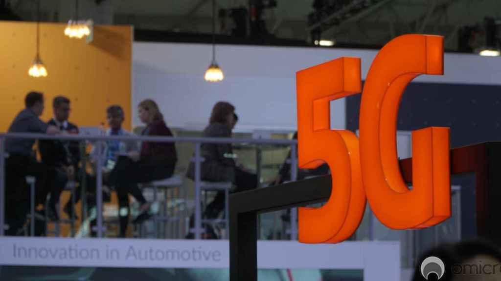 Logo de 5G, durante una feria, en una imagen de archivo.
