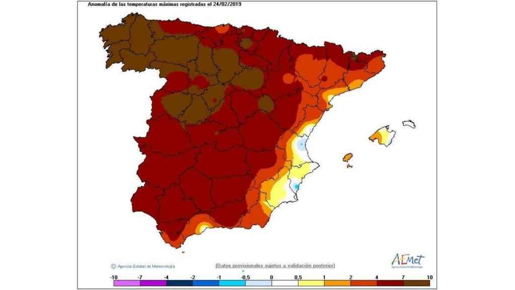 Anomalías de calor en España el domingo 24 de febrero de 2019.