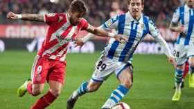 Portu y Aihen Muñoz en el Girona - Real Sociedad de La Liga