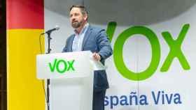El presidente de Vox, Santiago Abascal, este sábado en el Teatro de Bellas Artes de Madrid.