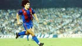 Maradona, durante un partido con el Barcelona. Foto: fcbarcelona.es