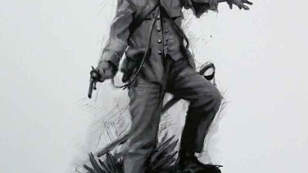 Boceto del pintor Ferrer Dalmau empleado por la Fundación Museo del Ejército para la estatua de Baler.