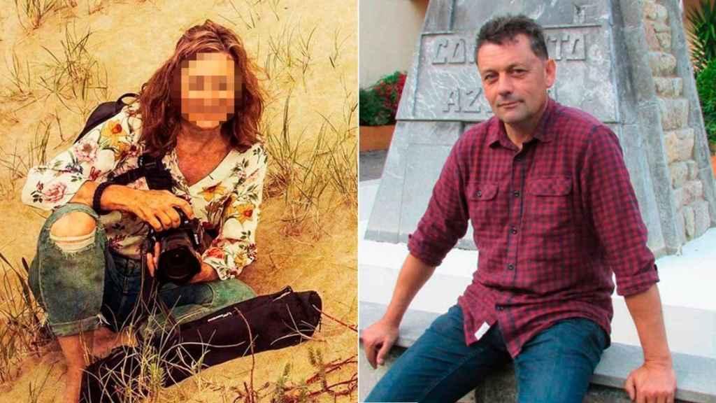 A la izquierda, la amiga fotógrafa. A la derecha, Javier Ardines, concejal de IU asesinado en Llanes.