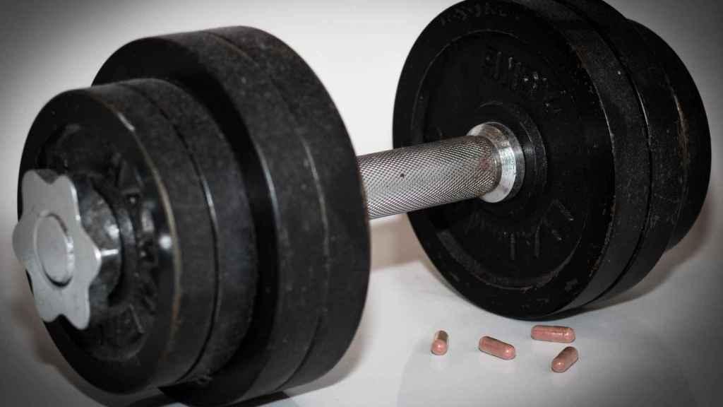Unas pesas de musculación.
