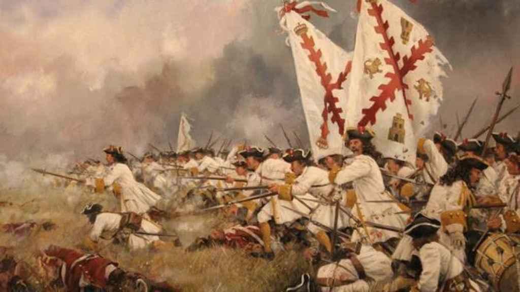 Pintura de Augusto Ferrer-Dalmau que incluye la bandera de la cruz de Borgoña