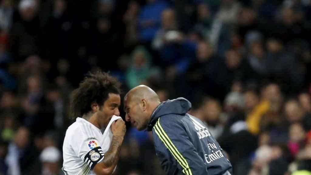 Marcelo y Zidane en el Real Madrid en 2016