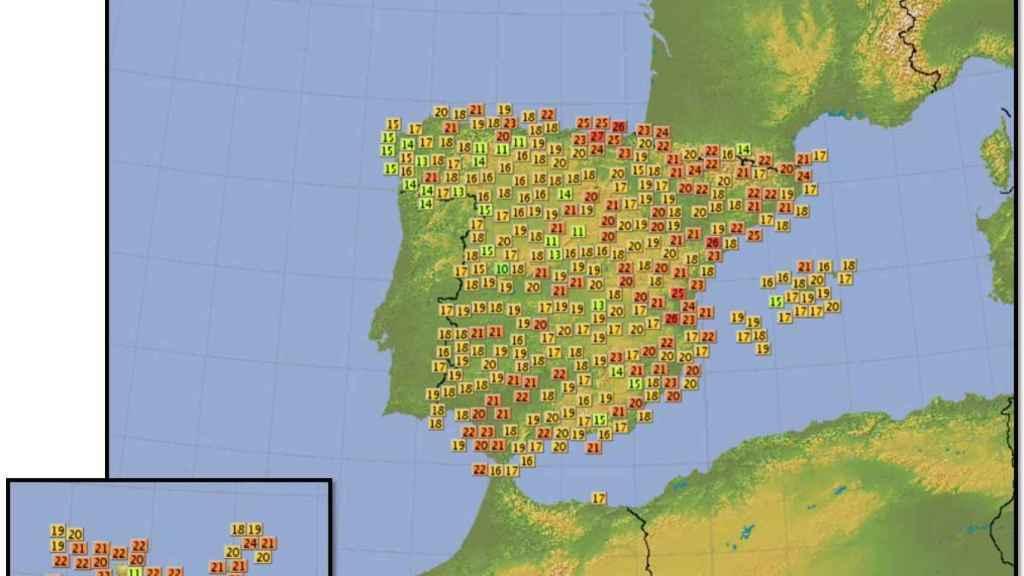 Mapa de España con las temperaturas máximas de este miércoles.