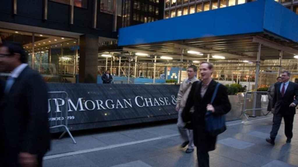 Rótulo en una sucursal de JP Morgan.