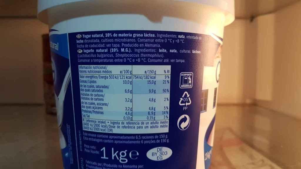 La información nutricional del yogur griego de Lidl.