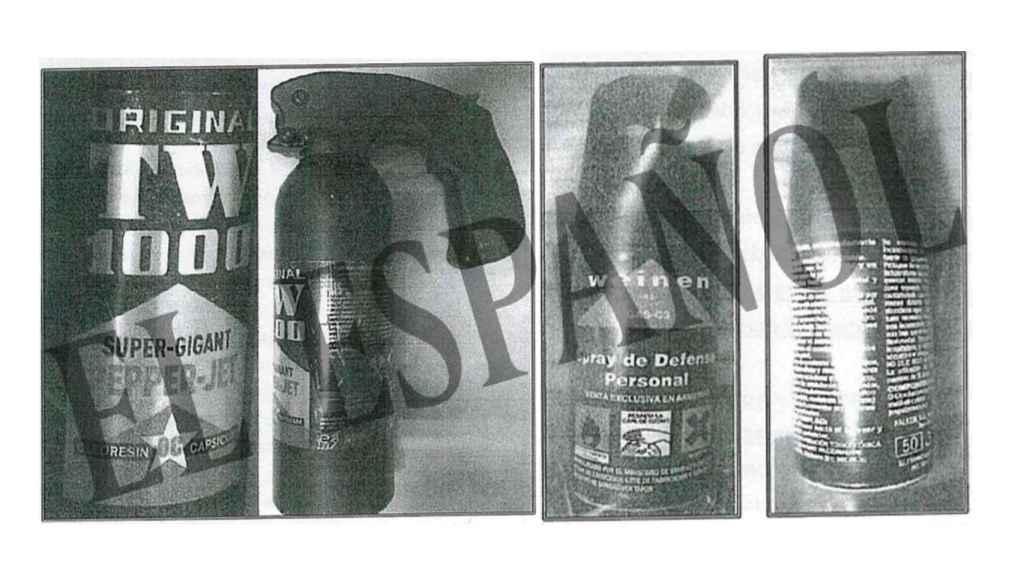 Botes de espray pimienta encontrados en casa de uno de los sicarios.