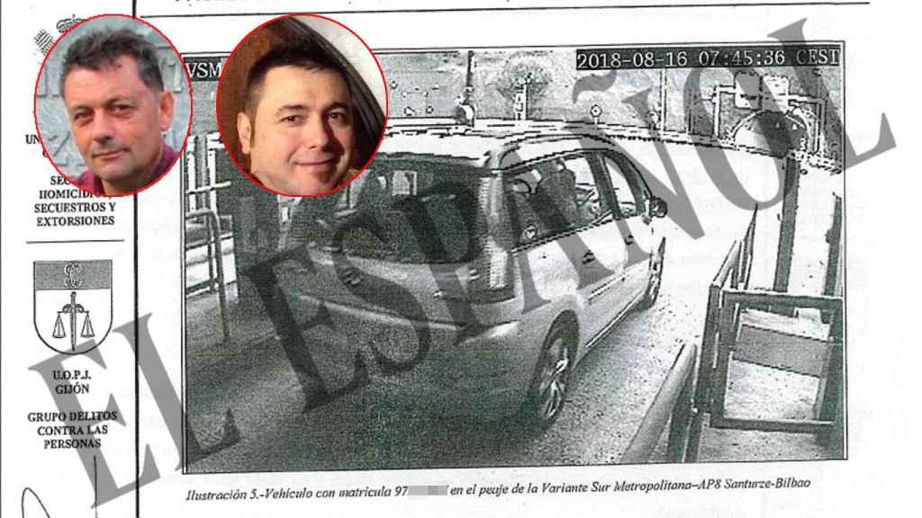 El vehículo de los sicarios regresando de Llanes tras el crimen el 16 de agosto.