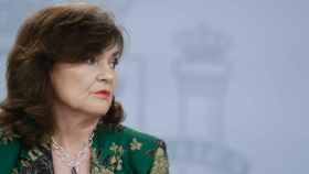 Carmen Calvo durante la rueda de prensa.