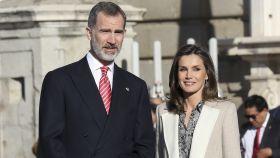 Felipe y Letizia durante la recepción al presidente de Perú y a su mujer.