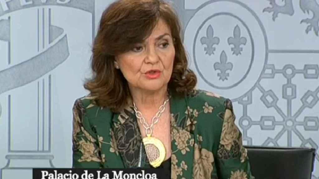 Carmen Calvo en la rueda de prensa posterior al Consejo de Ministros.