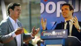 Albert Rivera y Pablo Casado, en sus mítines de Barcelona y Ferrol.