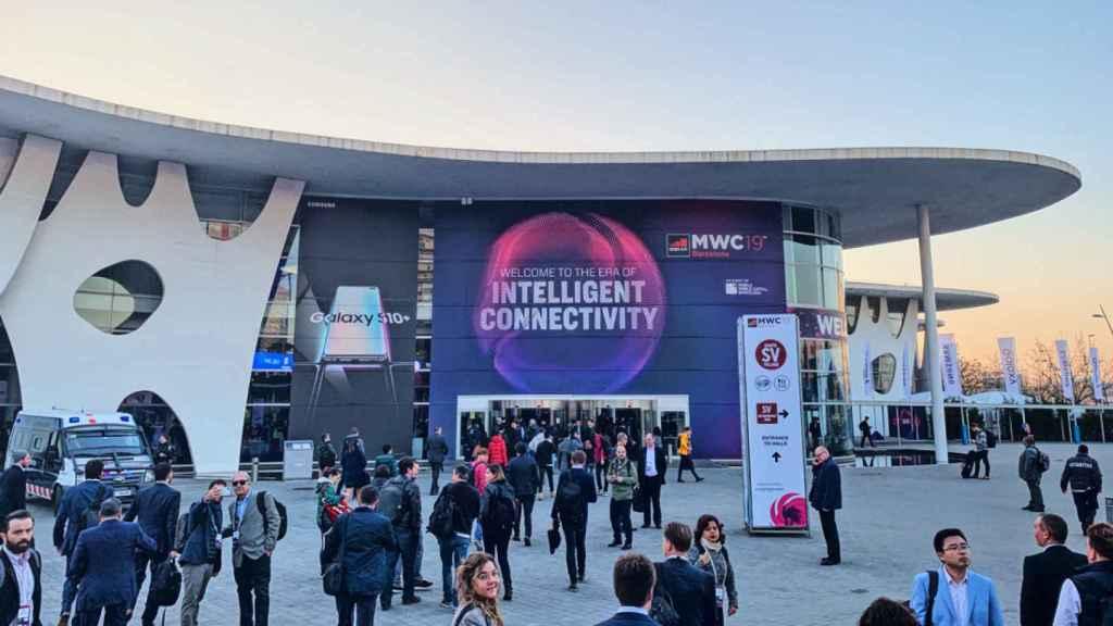 Entrada principal del Mobile World Congress de 2019.