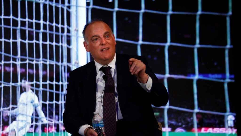 Javier Tebas, durante un acto